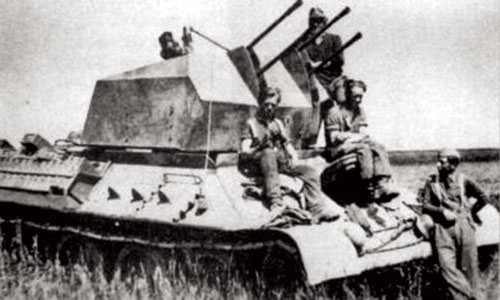 T-34 with a quad 2cm anti-aircraft gun