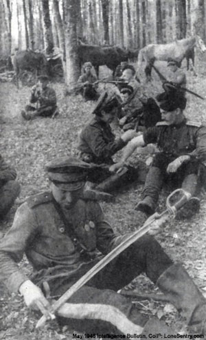Guards Cossacks rest in a forest