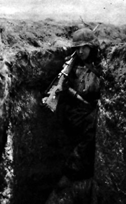 Nordland on watch in a trench