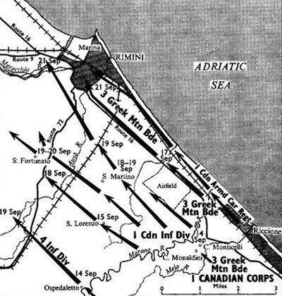 Area of operations around Rimini