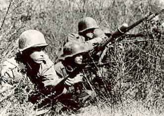 Brazilian troops take cover in the undergrowth