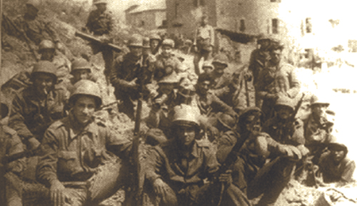 Brazilian troops rest during a lull in the fighting