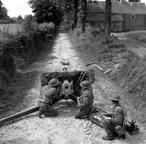 6 pdr in a narrow lane typical of Normandy