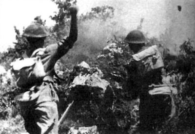 Poles storm a hill during the battle.
