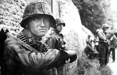 Waffen-SS soldiers during a lull in the action