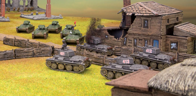 T-26 and Panzer 38(t) tanks clash
