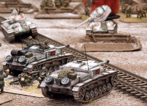 StuG assault guns and T-34 tanks