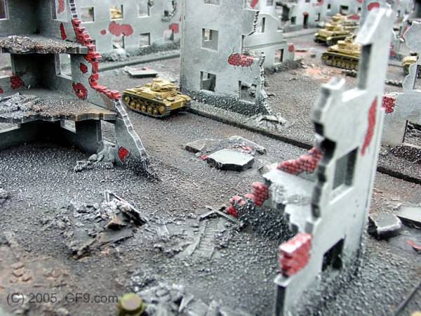 Russian Destroyed Tank Factory with City in 15mm