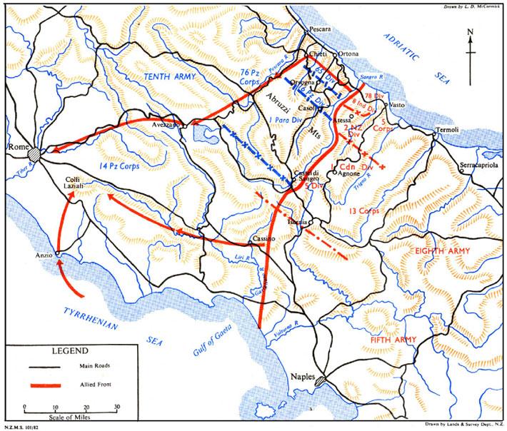 Introducción a Montecassino Cassino-Nov1943map