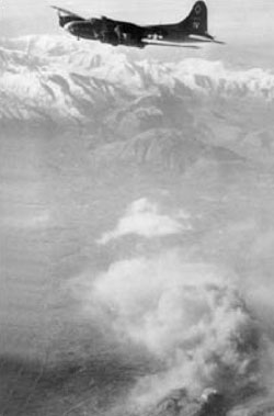 A US bomber bombs Monte Cassino.