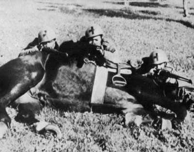 Savoia troopers take up position behind a prone horse.