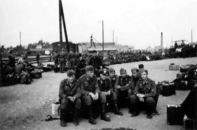 German Troops in Finland waiting for a train