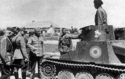Officers inspect a R-1 light tank