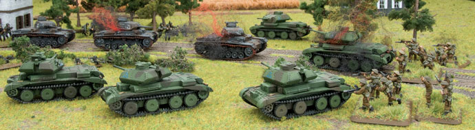 Crusiers tanks flank the German Panzers