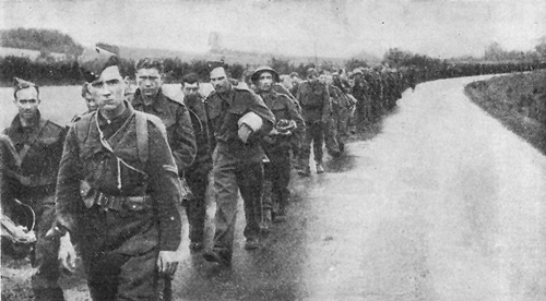 British POWs march into captivity