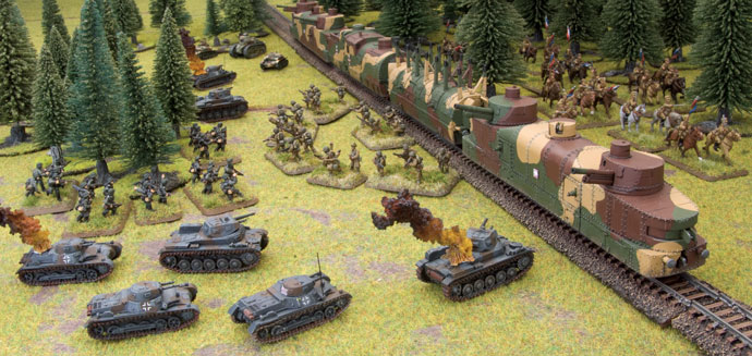 Polish Armoured Train in action