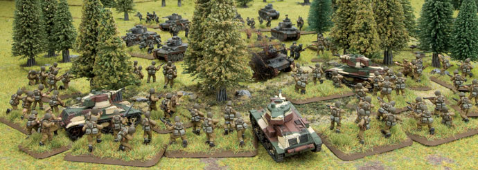 Polish tanks and moterised infantry fight German tanks