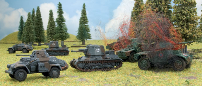 German tank destroyers sweep aside the French armoured cars