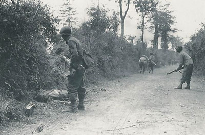 US Riflemen probe the Bocage