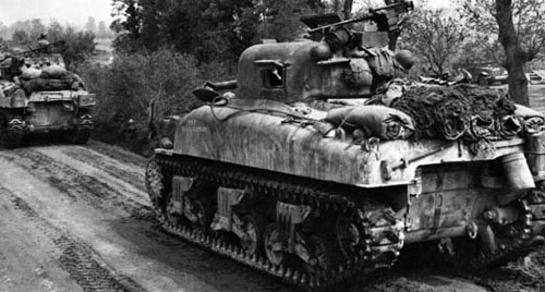 Sherman tanks advance