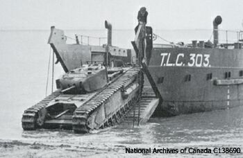 A Tank Landing Craft (TLC) and Churchill I CS in training for Dieppe