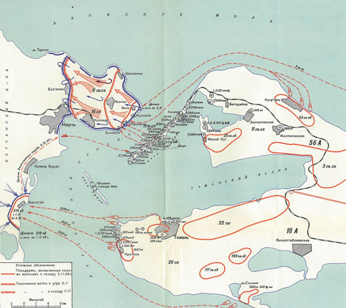 Russian map of the landings