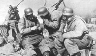 German troops enjoy a cigarette