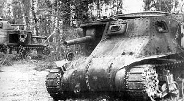 Burnt out Soviet Lend Lease M3 Lee tanks