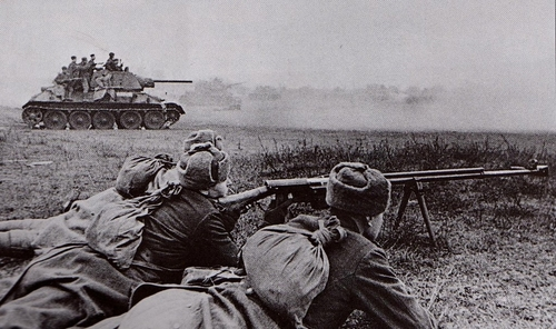 Soviet troops attack