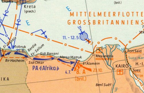 A German Map of the operations up to El Alamein