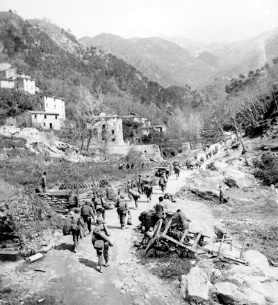 Troops on the move in the Italian countryside