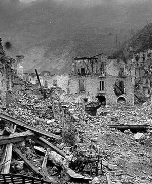 Destroyed Italian village