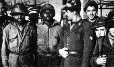 Two American POWs with a group of Alpini of the Monterosa Division.