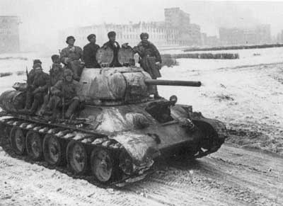 Soviet Troops riding into Kharkov