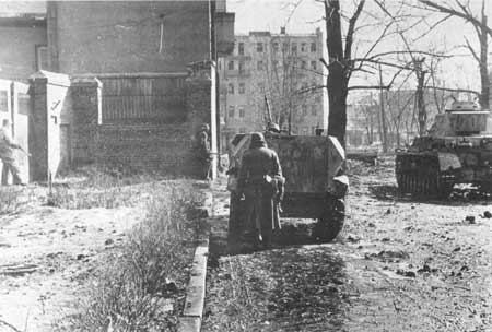 Using a halftrack as cover during an advance