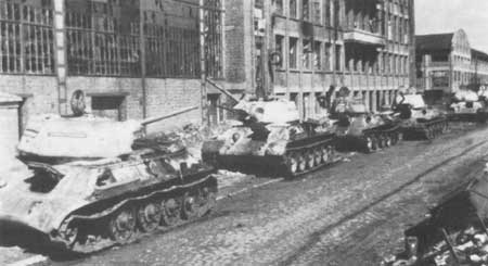 Abandon and knocked out T-34s line the streets