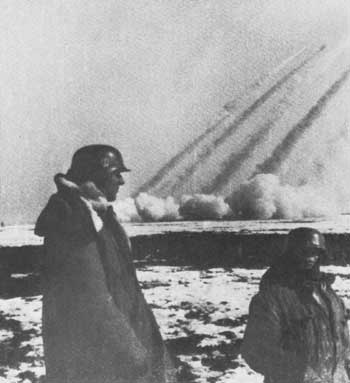 Nebelwerfers fire on Soviet positions