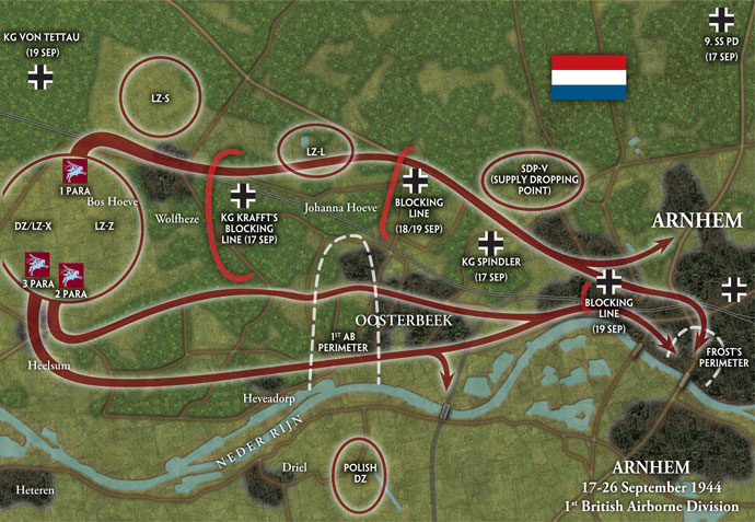 1st Airborne area of operations around Arnhem