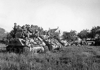 Tanks prepare to advance during Opertaion Totalize