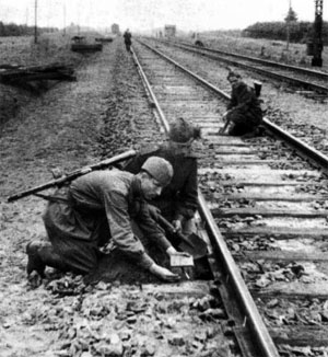 Partisans prepare to destroy a rail line