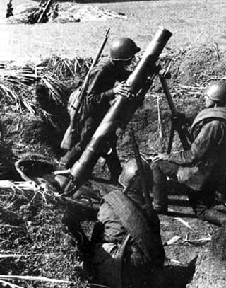 120mm mortar (120-HM 38) in action in the Caucasian Hills, September 1942