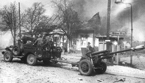 ZIS-3 being towed by a lend-lease 3/4-ton dodge truck