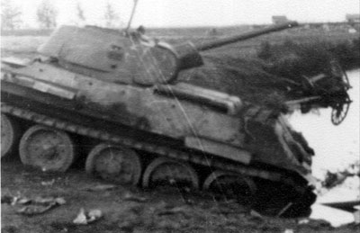 Knocked out T-34 in the outskirts of Stalingrad