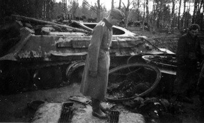 Destroyed T-34 tank