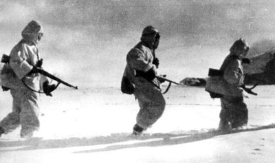 Soviet infantry marching in the snow