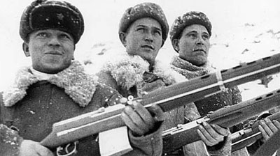 Soviet Troops armed with SVT-40 semi-automatic rifles.