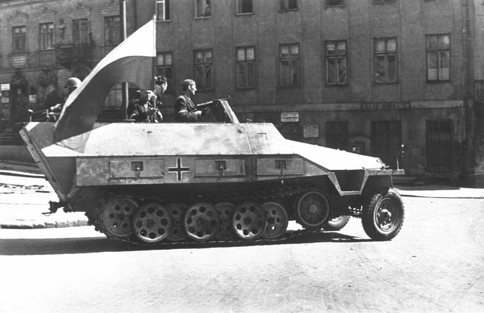 AK Soldiers with captured half-track in Warsaw, 1944