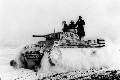A Panzer storms across the desert