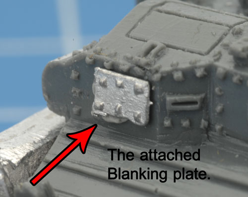 Blanking plate attached to the front of the hull
