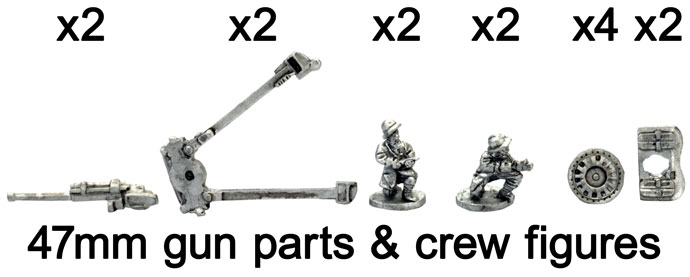 The French 47mm gun and crew figures
